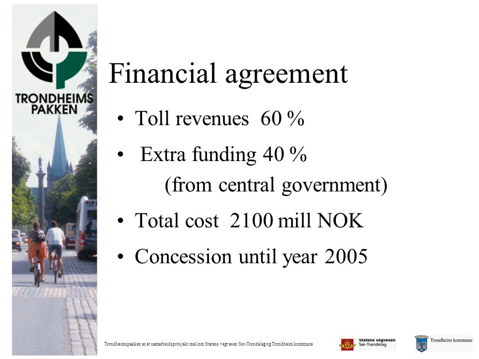 Financial agreement Toll revenues 60 %