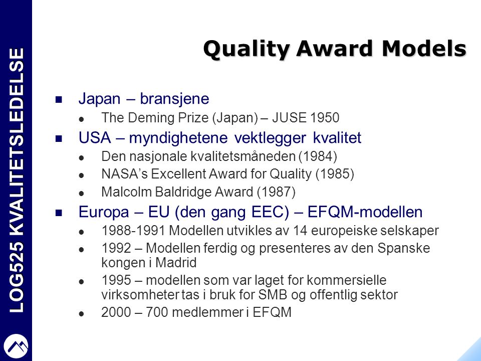 Quality Award Models Japan – bransjene