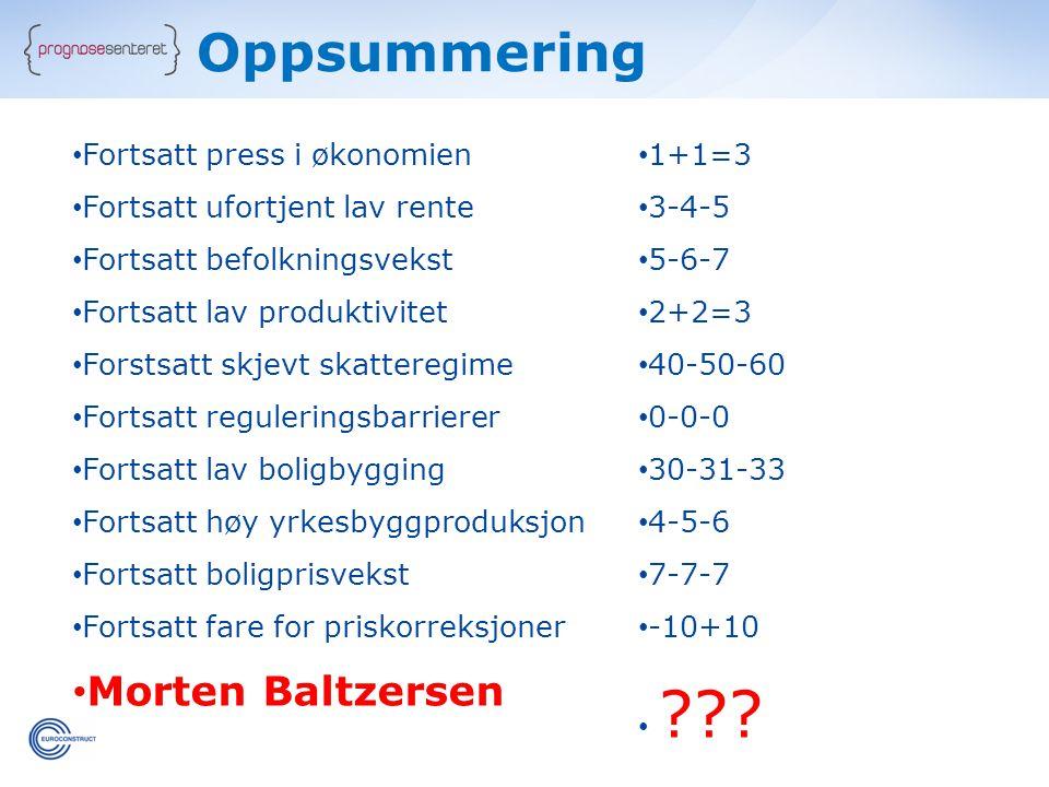Oppsummering Morten Baltzersen Fortsatt press i økonomien 1+1=3