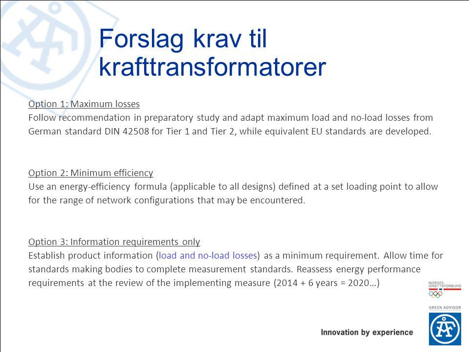 Forslag krav til krafttransformatorer