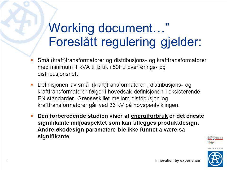 Working document… Foreslått regulering gjelder: