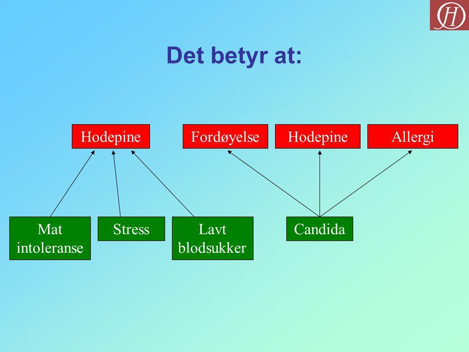 Det betyr at: Hodepine Mat intoleranse Stress Lavt blodsukker