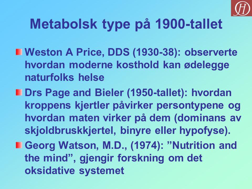 Metabolsk type på 1900-tallet