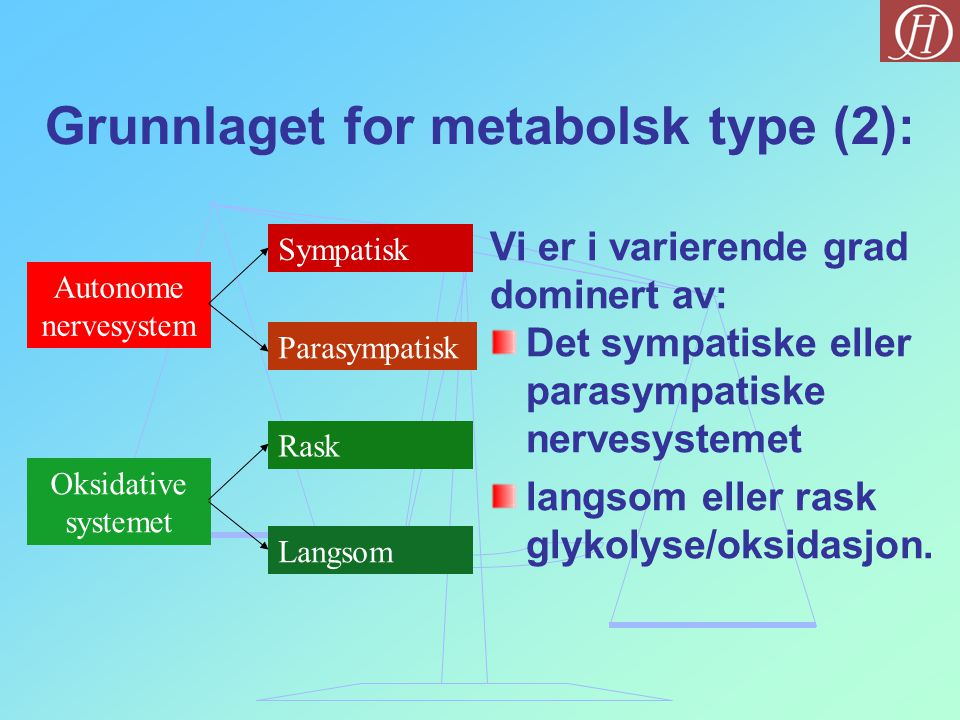 Grunnlaget for metabolsk type (2):