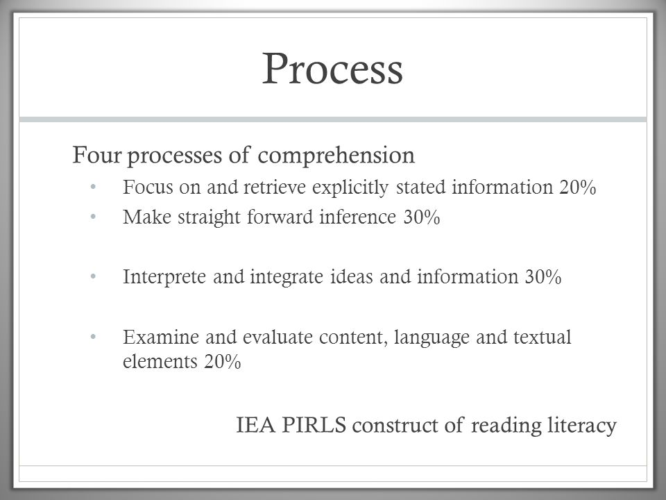 Process Four processes of comprehension