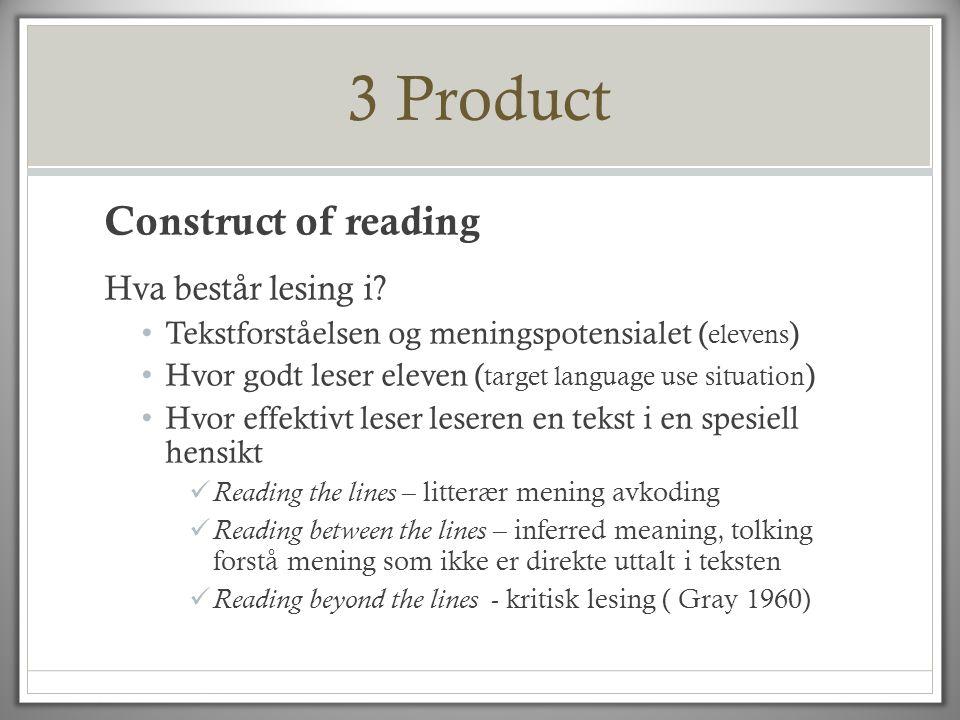 3 Product Construct of reading Hva består lesing i