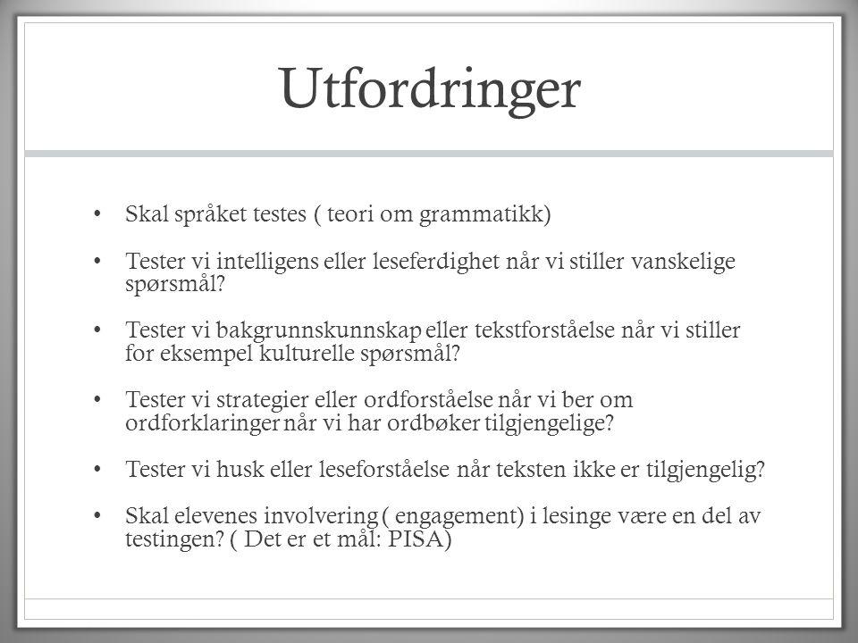 Utfordringer Skal språket testes ( teori om grammatikk)