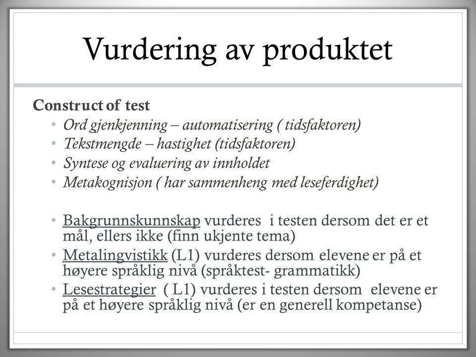 Vurdering av produktet