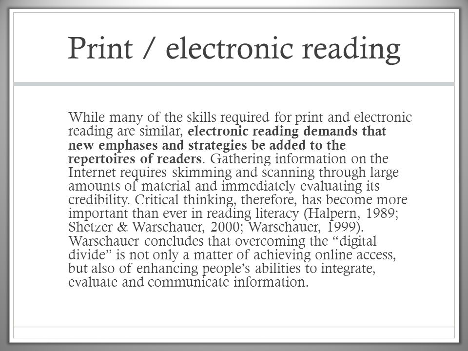 Print / electronic reading