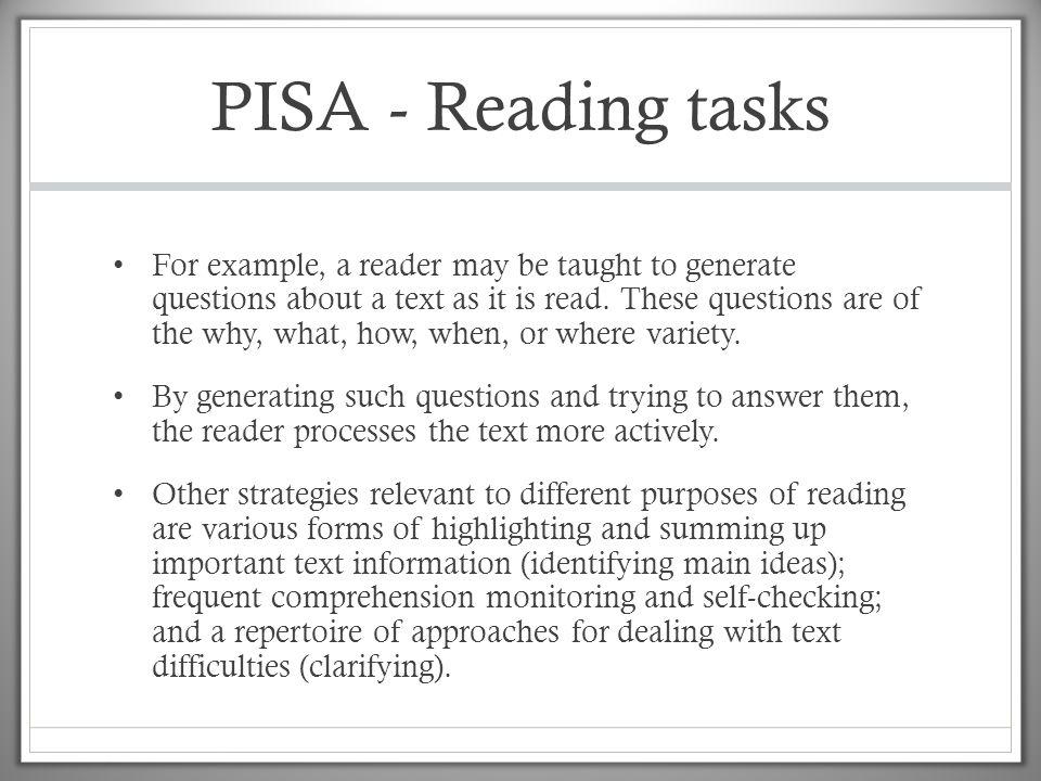 PISA - Reading tasks