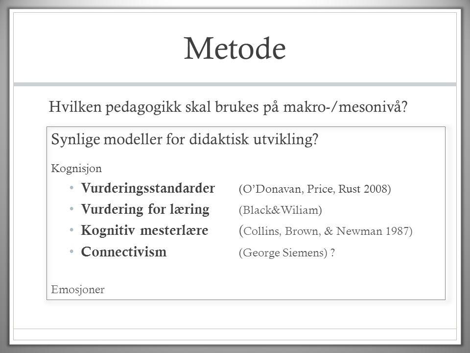 Metode Hvilken pedagogikk skal brukes på makro-/mesonivå