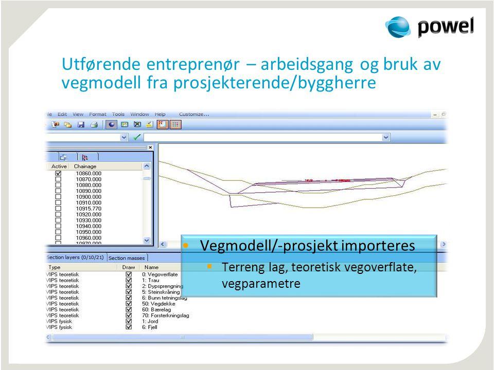 Utførende entreprenør – arbeidsgang og bruk av vegmodell fra prosjekterende/byggherre