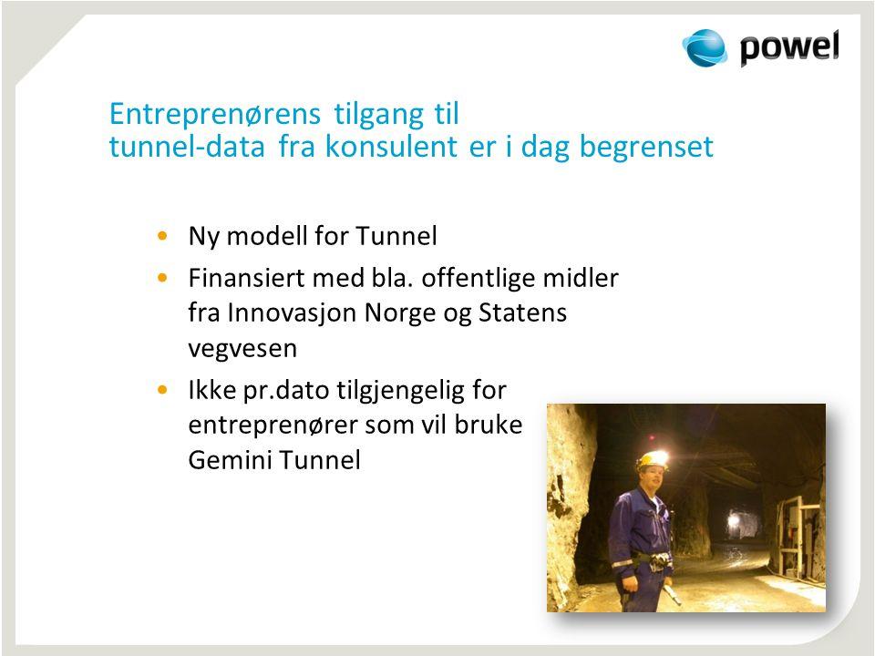 Entreprenørens tilgang til tunnel-data fra konsulent er i dag begrenset
