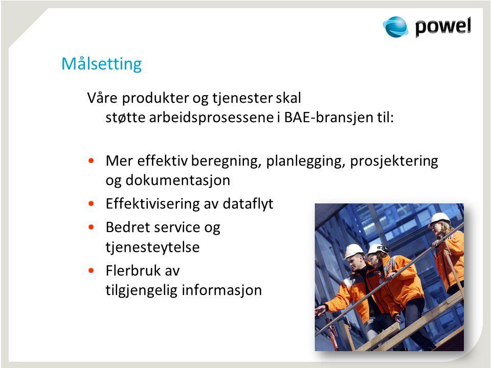 Målsetting Våre produkter og tjenester skal støtte arbeidsprosessene i BAE-bransjen til: