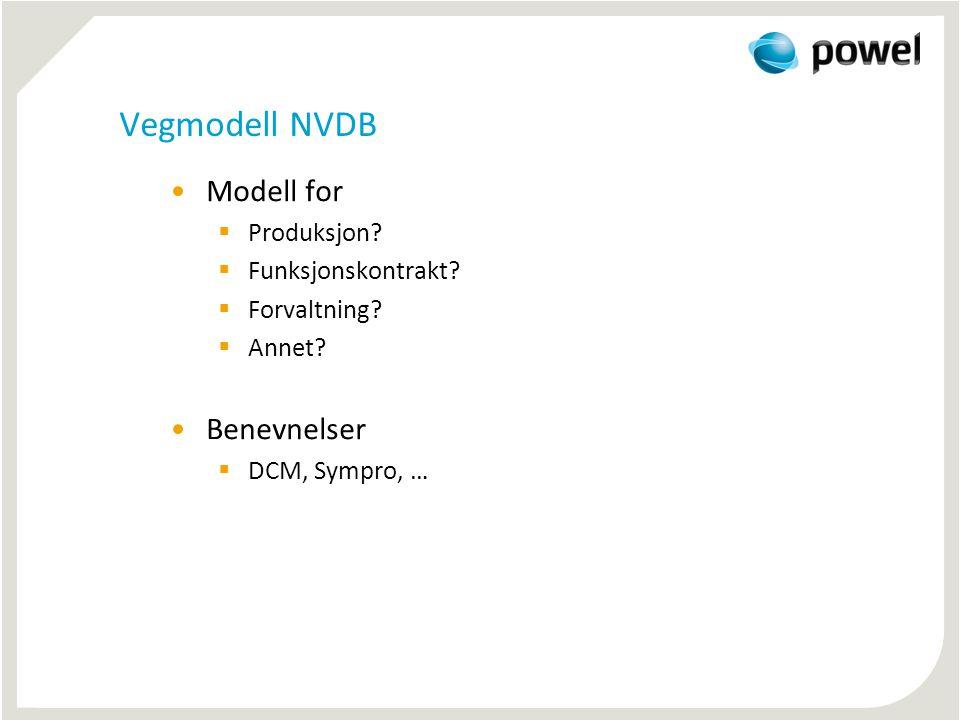 Vegmodell NVDB Modell for Benevnelser Produksjon Funksjonskontrakt