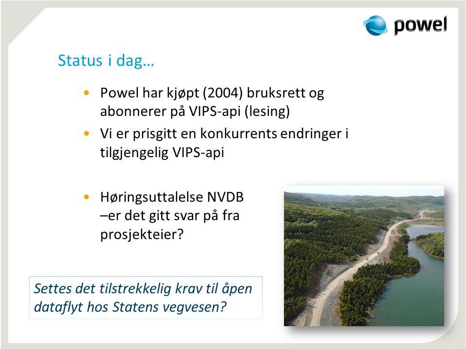 Status i dag… Powel har kjøpt (2004) bruksrett og abonnerer på VIPS-api (lesing) Vi er prisgitt en konkurrents endringer i tilgjengelig VIPS-api.