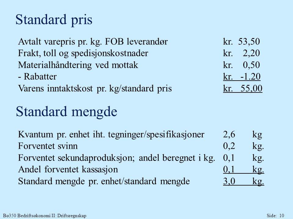Standard pris Standard mengde