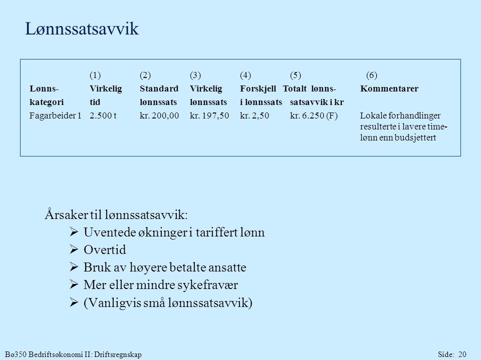 Lønnssatsavvik Årsaker til lønnssatsavvik: