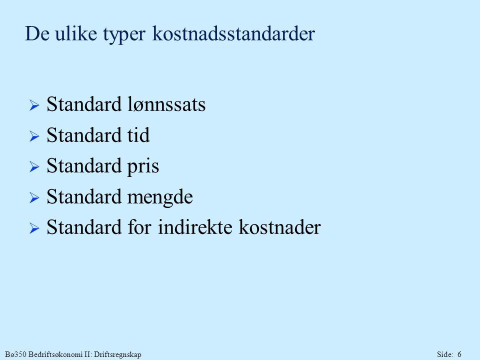 De ulike typer kostnadsstandarder
