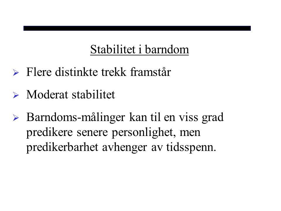 Stabilitet i barndom Flere distinkte trekk framstår. Moderat stabilitet.