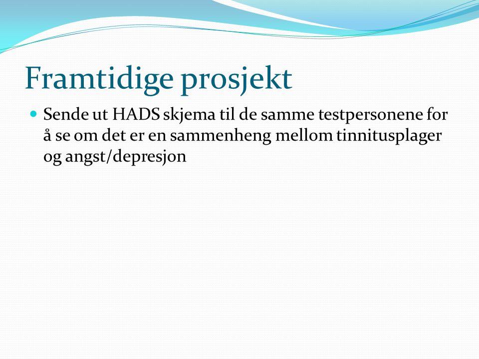Framtidige prosjekt Sende ut HADS skjema til de samme testpersonene for å se om det er en sammenheng mellom tinnitusplager og angst/depresjon.