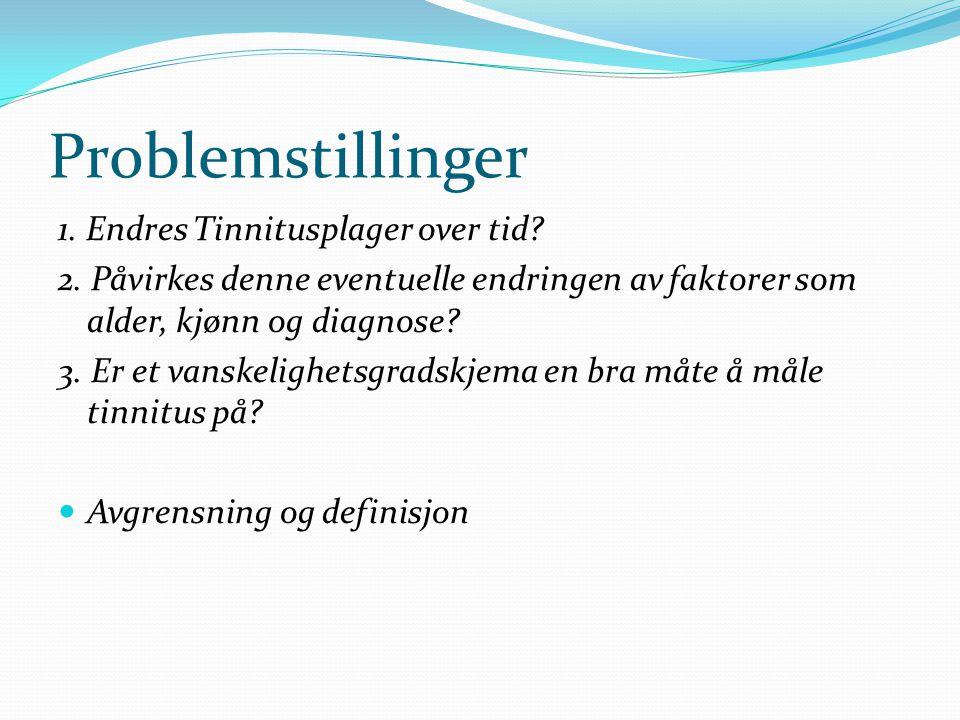 Problemstillinger 1. Endres Tinnitusplager over tid