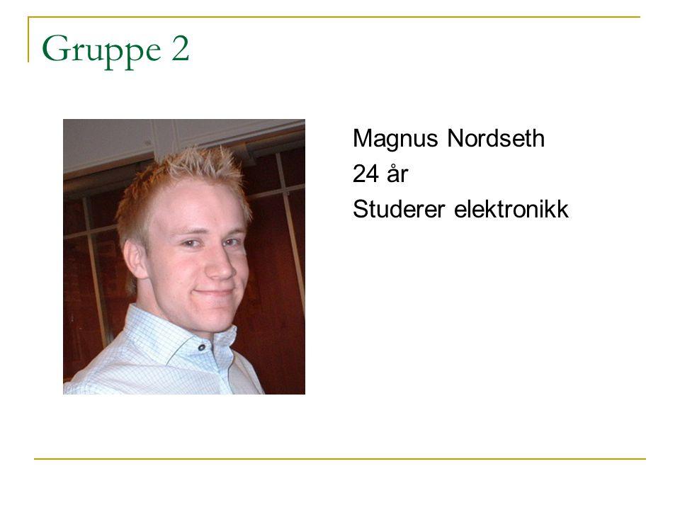 Gruppe 2 Magnus Nordseth 24 år Studerer elektronikk