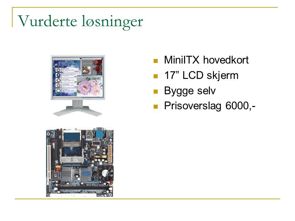 Vurderte løsninger MiniITX hovedkort 17 LCD skjerm Bygge selv