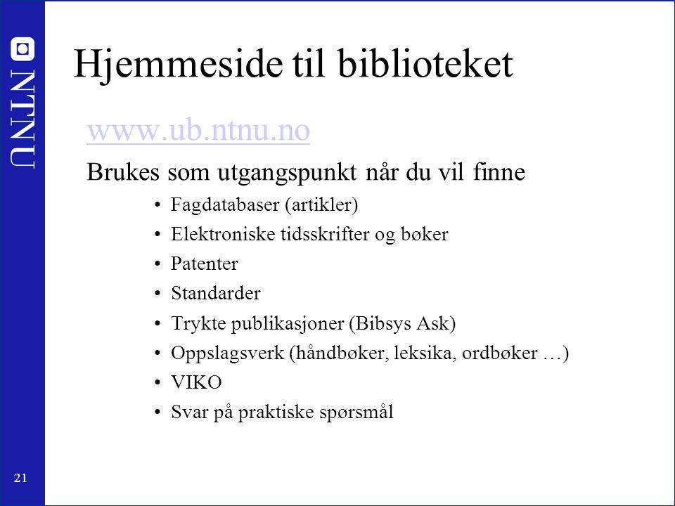 Hjemmeside til biblioteket