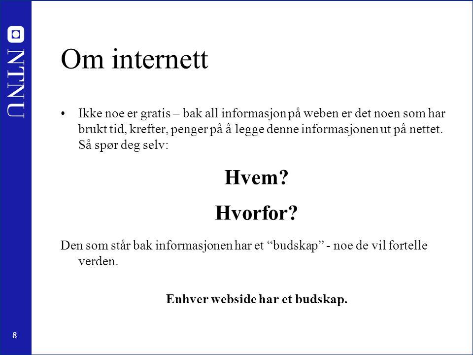 Enhver webside har et budskap.