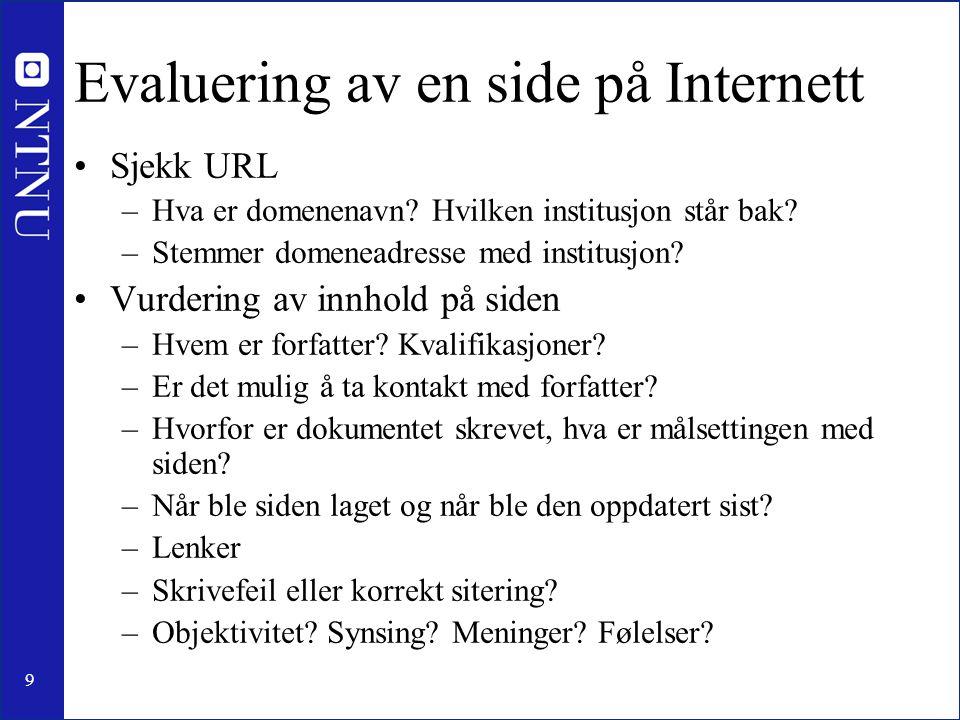 Evaluering av en side på Internett