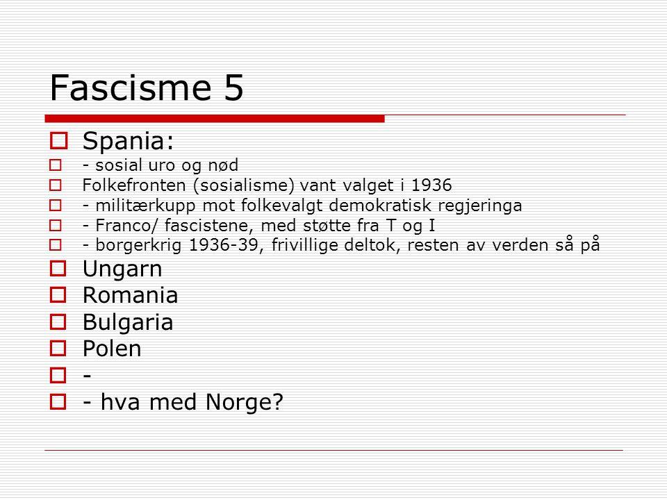 Fascisme 5 Spania: Ungarn Romania Bulgaria Polen - - hva med Norge