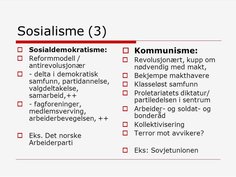 Sosialisme (3) Kommunisme: Sosialdemokratisme: