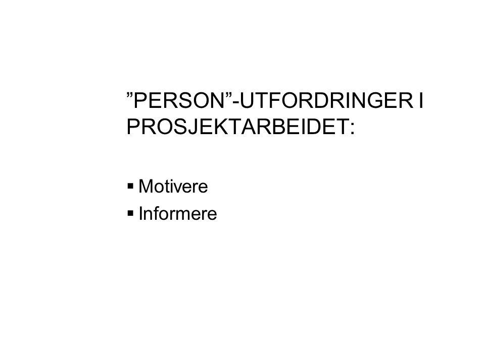 PERSON -UTFORDRINGER I PROSJEKTARBEIDET: