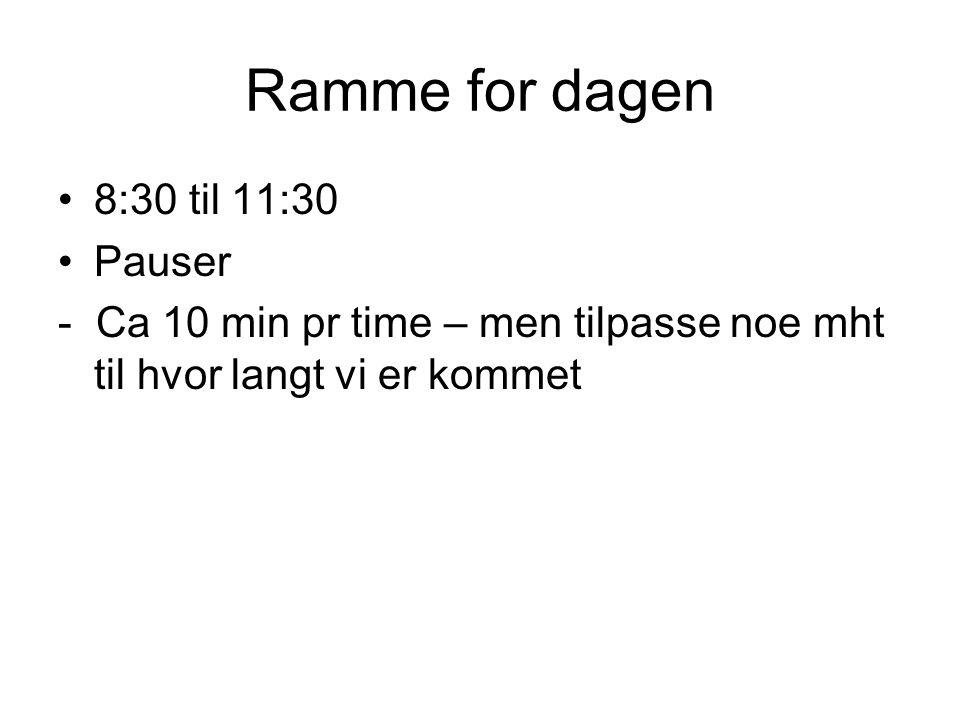 Ramme for dagen 8:30 til 11:30 Pauser