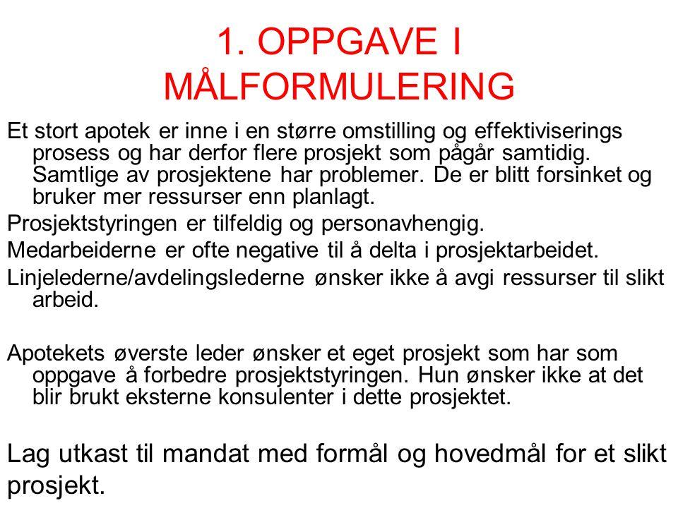 1. OPPGAVE I MÅLFORMULERING