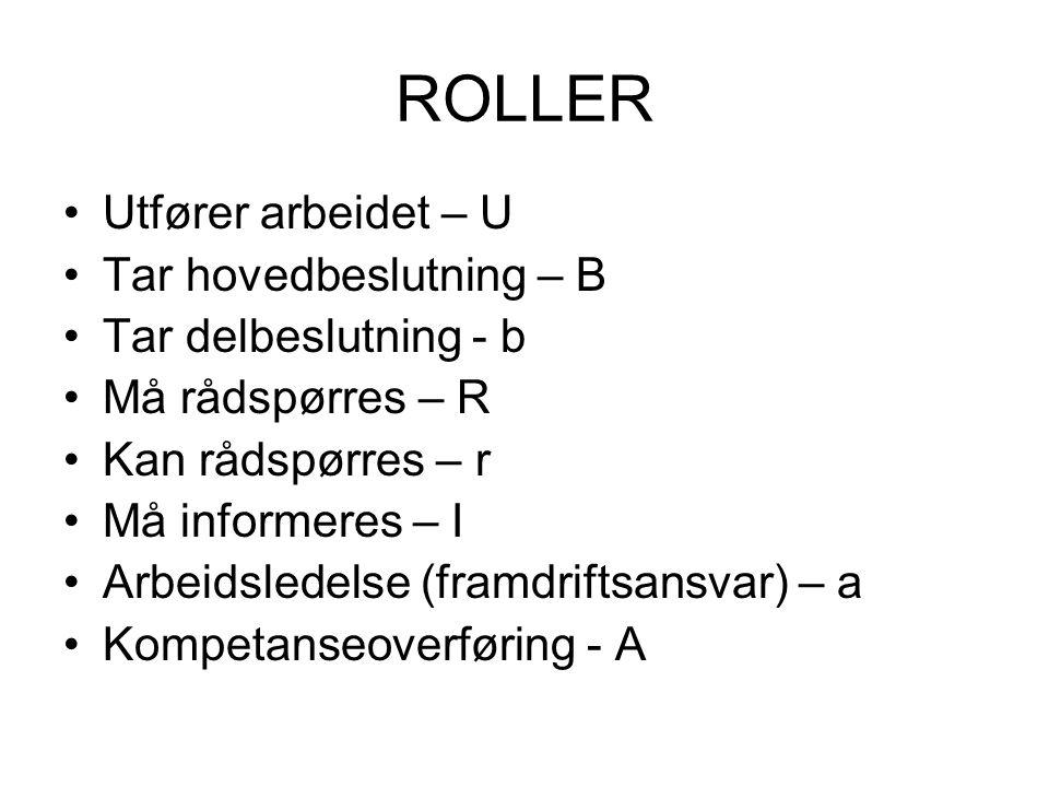 ROLLER Utfører arbeidet – U Tar hovedbeslutning – B