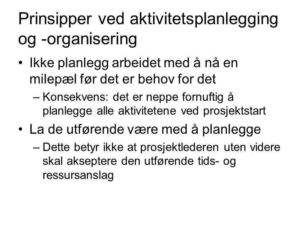 Prinsipper ved aktivitetsplanlegging og -organisering