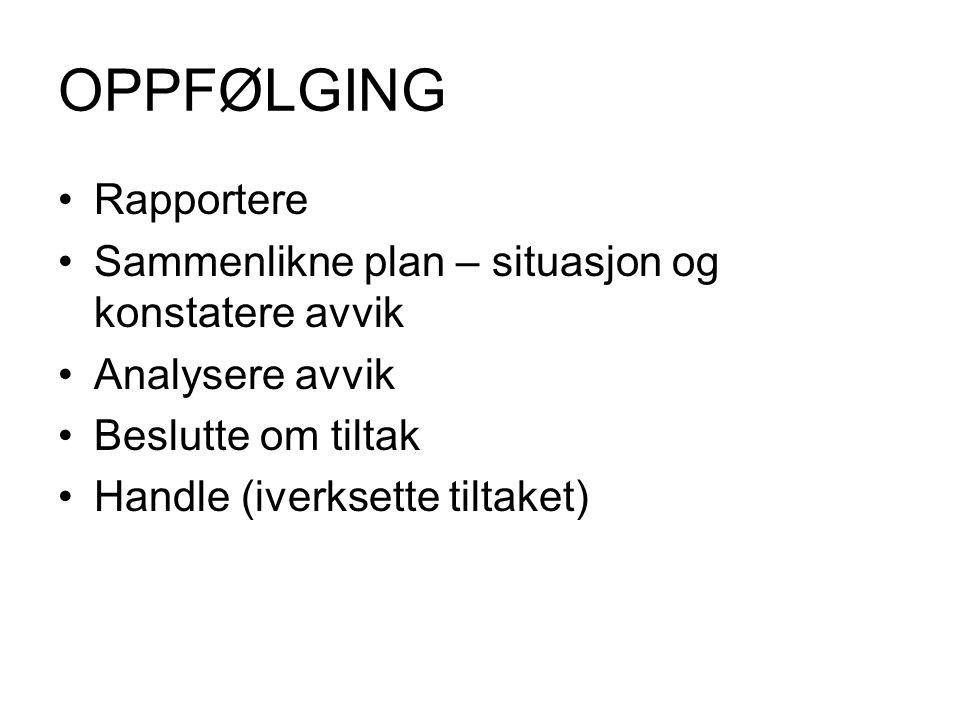 OPPFØLGING Rapportere Sammenlikne plan – situasjon og konstatere avvik