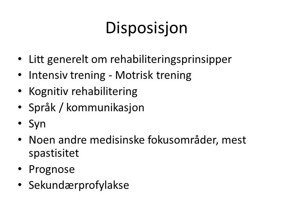 Disposisjon Litt generelt om rehabiliteringsprinsipper