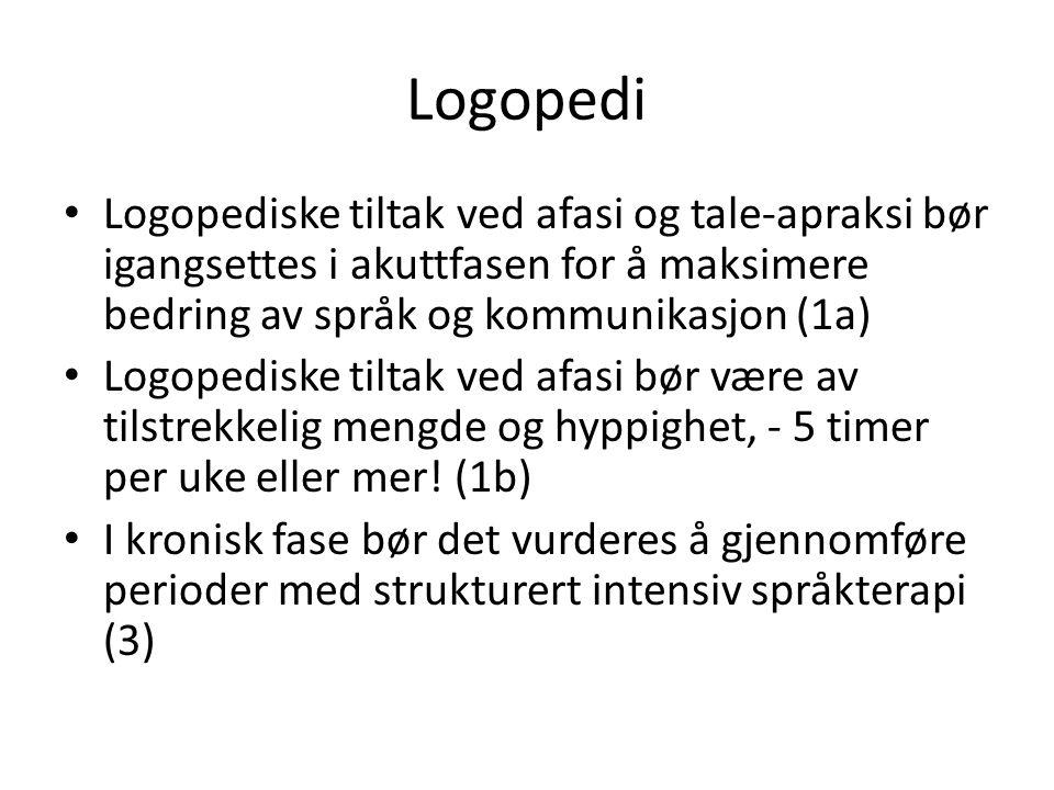 Logopedi Logopediske tiltak ved afasi og tale-apraksi bør igangsettes i akuttfasen for å maksimere bedring av språk og kommunikasjon (1a)