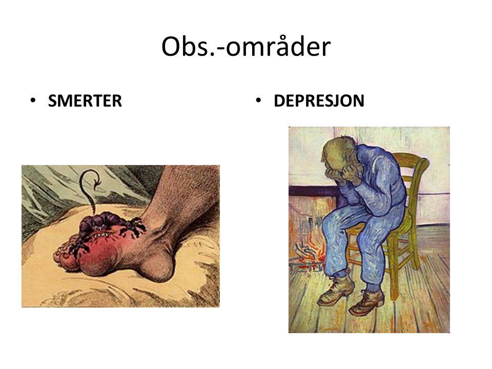 Obs.-områder SMERTER DEPRESJON