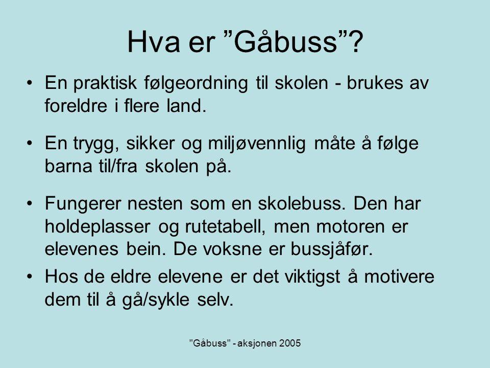 Hva er Gåbuss En praktisk følgeordning til skolen - brukes av foreldre i flere land.