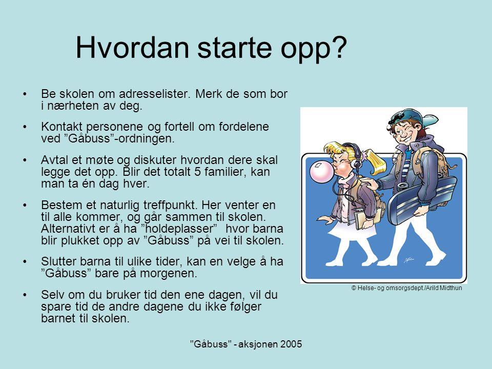 Hvordan starte opp Be skolen om adresselister. Merk de som bor i nærheten av deg. Kontakt personene og fortell om fordelene ved Gåbuss -ordningen.