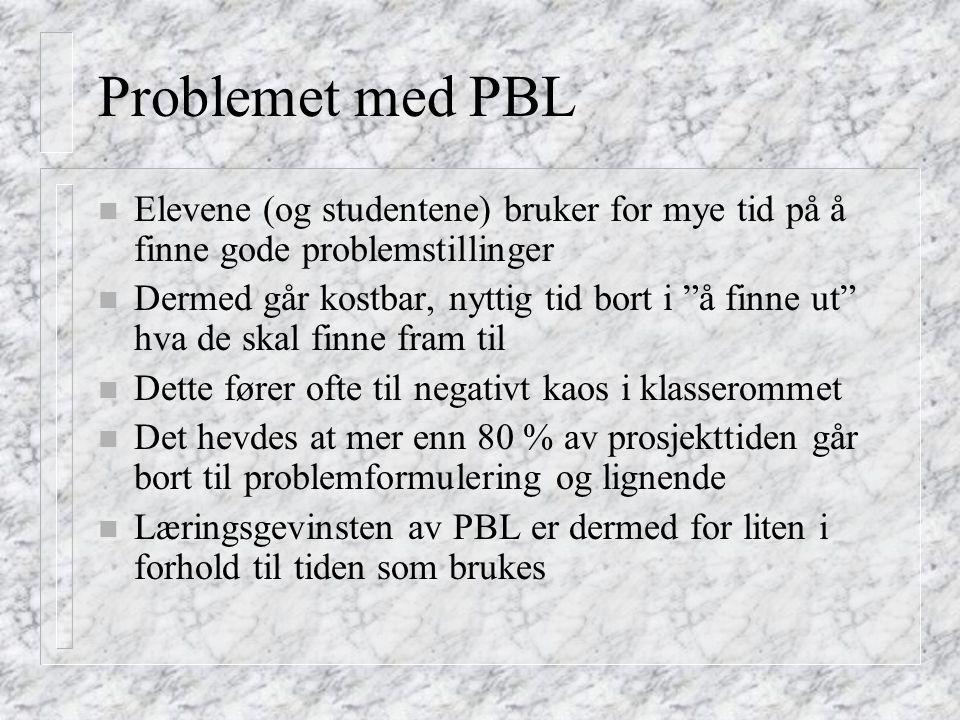 Problemet med PBL Elevene (og studentene) bruker for mye tid på å finne gode problemstillinger.