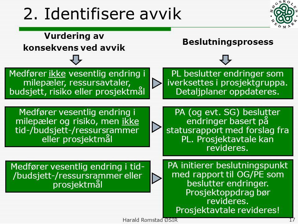 2. Identifisere avvik Vurdering av konsekvens ved avvik