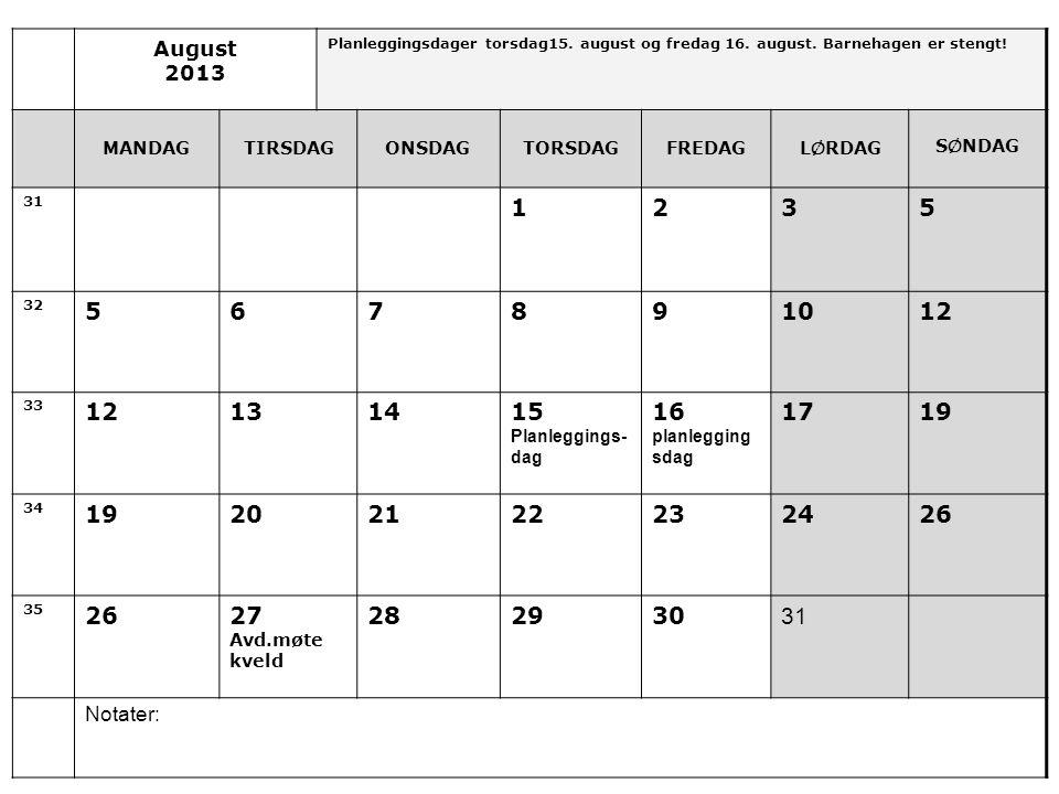 August 2013. Planleggingsdager torsdag15. august og fredag 16. august. Barnehagen er stengt! MANDAG.