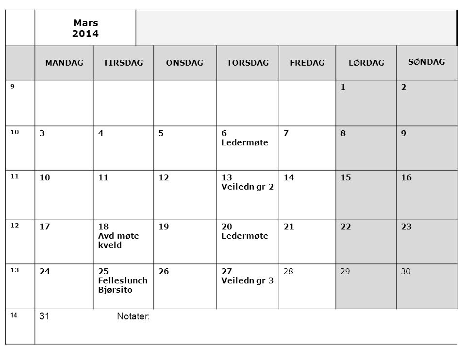 Mars 2014 31 Notater: MANDAG TIRSDAG ONSDAG TORSDAG FREDAG LØRDAG