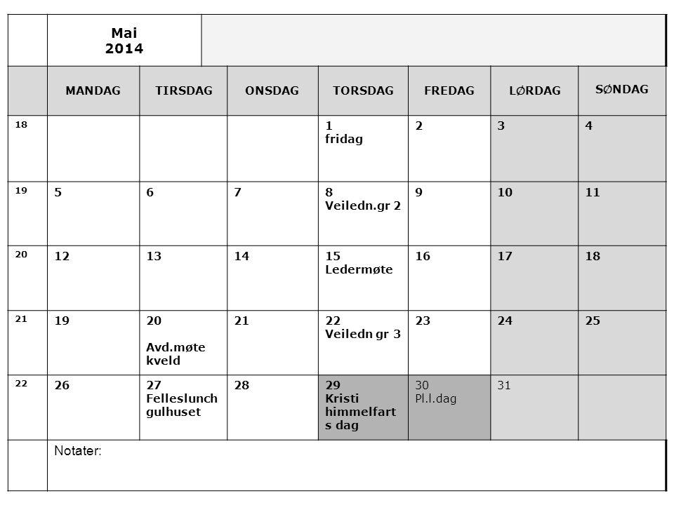 Mai 2014 Notater: MANDAG TIRSDAG ONSDAG TORSDAG FREDAG LØRDAG SØNDAG 1