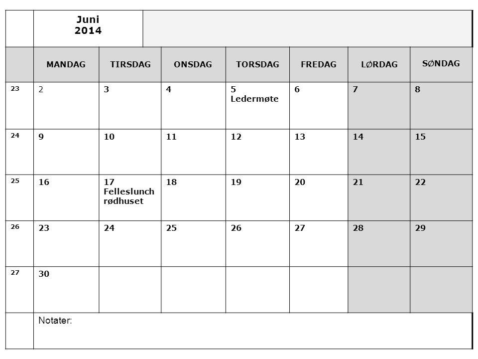 Juni 2014 Notater: MANDAG TIRSDAG ONSDAG TORSDAG FREDAG LØRDAG SØNDAG